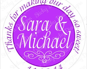 PERSONALIZED WEDDING STICKERS - Wedding Monogrammed Labels - Round Gloss Labels