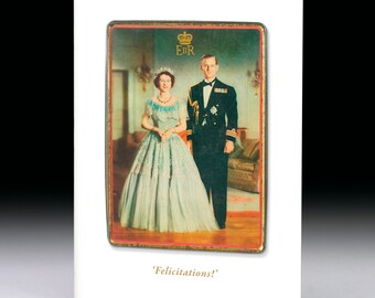 Queen Elizabeth II and Prince Phillip  'Felicitations!' 1950s Toffee Tin Greeting Card