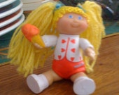 Cabbage Patch Kid, Cabbage Patch Figure, Eighties Toy, Girl, Doll, Blond, Blue Eyes, Pigtails, Yarn, 1984, Retro Toy, Collectible, Vintage