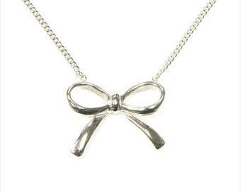 925 sterling silver and bow necklace. bow jewelry, bow pendant, cz bow necklace. promise jewelry