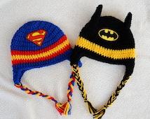 Superman OR Batman inspired crochet hat