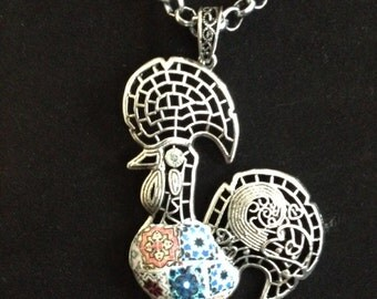 """Necklace with typical """"Galo de Barcelos""""; (rooster of Barcelos)"""