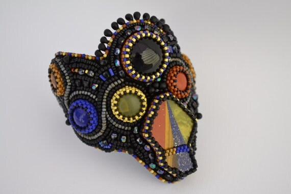 Items similar to bead embroidery bracelet