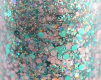 Teal Me Your Fantasy - Teal Pink Iridescent Glitter Nail Polish 5 free nail polish handmade nail polish indie vegan cruelty free nailpolish
