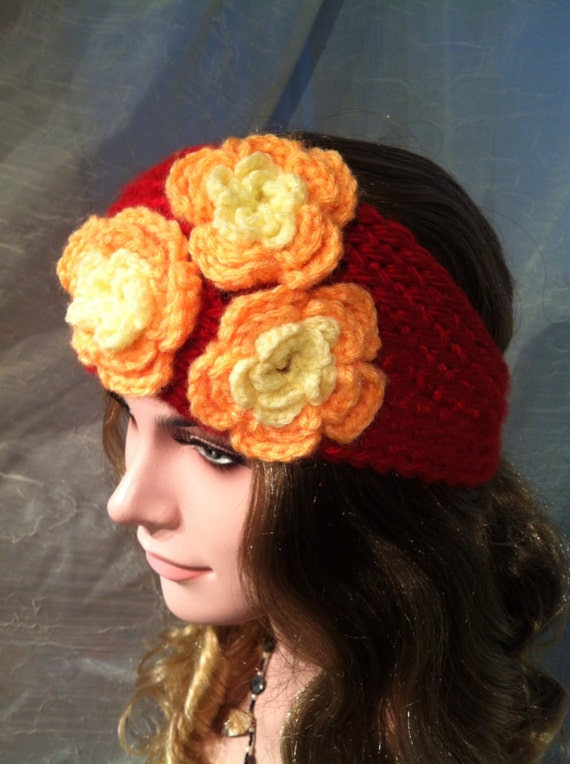 Crochet Ear Warmer Pattern Bulky Yarn : Chunky bulky yarn crochet ear warmer headband red with orange