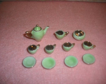 Dollhouse miniature Porcelain Tea set Mint green and gold (12 pcs)