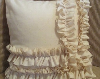 Small Cream Cotton Muslin Ruffle 12 x 12 Shabby Chic Throw Pillow