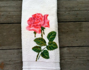 Vintage 1950s 1960s CANNON Pink Rose Bath Towel Shabby Chic Cottage