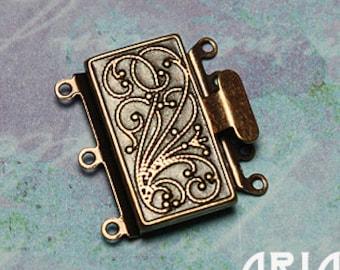 NOUVEAU BOX CLASP:  23x21mm Antiqued Copper Plated Brass Three Strand Nouveau Box Clasp (1)