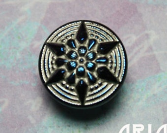 CZECH GLASS BUTTON: 18mm Star Flower Handpainted Czech Button, Pendant, Cabochon (1)