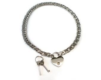 Chain BDSM Lockable slave sub Collar with heart padlock /locking sub choker