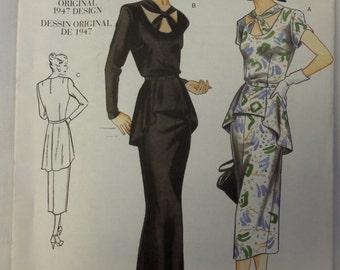 2000 VOGUE VINTAGE Model REPRODUCTION Original 1947 Design Gown w/Peplum Pattern sz 6-8-10 UNcut