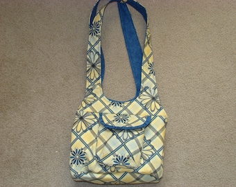 Yellow and Blue Floral Tri-section Purse