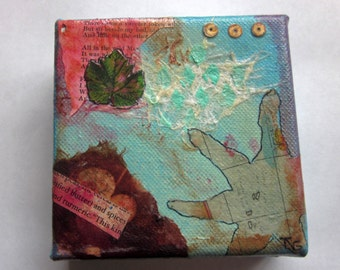Whimsical Mixed Media  Collage Original Mixed Media Collage Art with Vintage and handmade Paper