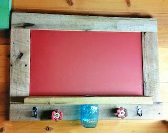 Chalk Board - Rustic Chalk Board - Mason Jar Shelf - Red Chalk Board mason jar shelf