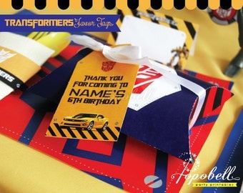 Transformers Thank You Tags for Transformers Birthday Party. Transformers Party Printables in 2 designs! Personalized Transformers Favor Tag