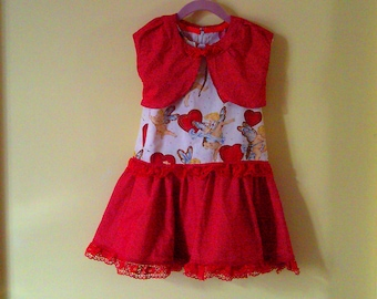 Size 2 girls' cupid dress with matching bolero.