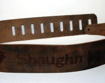 Distressed Leather, Custom Guitar straps. Personalized Guitar Straps, Guitar Straps, custom distressed leather guitar straps, Brown colour
