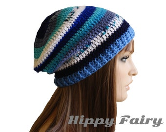 Crochet hat,  womans Blue Beanie ,Slouchy beanie, Womans slouch beanie, Slouchy hat