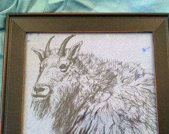 Framed Ink GOAT Drawing on Cotton Handmade Paper