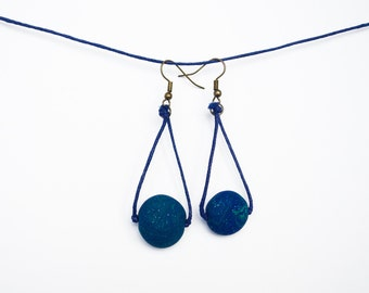 Dark blue green earrings Polymer clay earrings Beadwork earrings Beaded earrings Spring earrings Stone like necklace Sparkling earrings