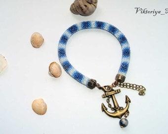 "Bead blue crochet  Bracelet ""Marine"""