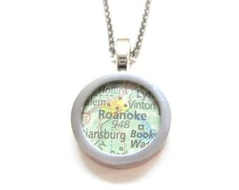 Roanoke Virginia Map Pendant Necklace