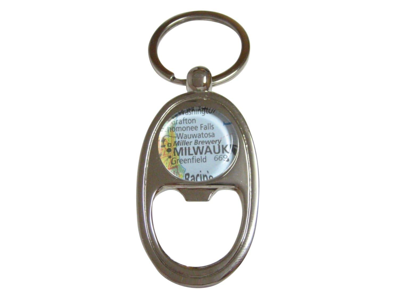 miller brewery map bottle opener key chain. Black Bedroom Furniture Sets. Home Design Ideas