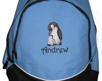 FREE SHIPPING - Penguin  Personalized Monogrammed Backpack Book Bag school tote  - NEW