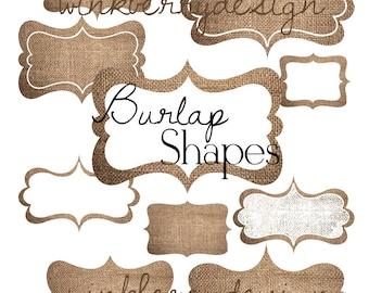 Burlap Clip Art - Digital Shapes 10 designs Instand Download