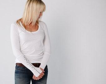 Women's White Thumbhole T-Shirt- Alternative Apparel great gift-yoga workout tee