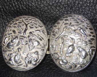 Antique Silver BuckleChinese Export Repousse  Circa 1890 23.3 Grams