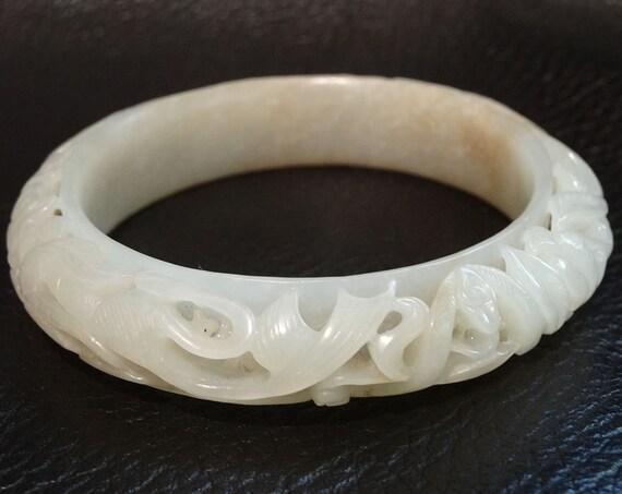 Antique Jade Bangle Bracelet Mutton Fat Nephrite Qing Dynasty
