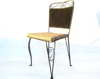 Vintage Wrought Iron Chair, Retro Chair, Leopard Print Chair, Chippy Paint,metal chair,black,