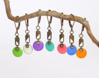 Colored  dots enamelled earrings