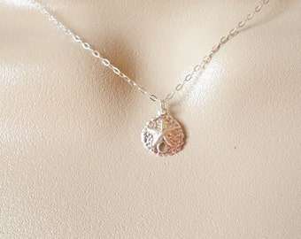 Silver Sand Dollar Necklace - Tiny Sand Dollar Necklace - Sterling Silver Necklace - Nautical Jewelry - Nautical Necklace - Christmas Gift
