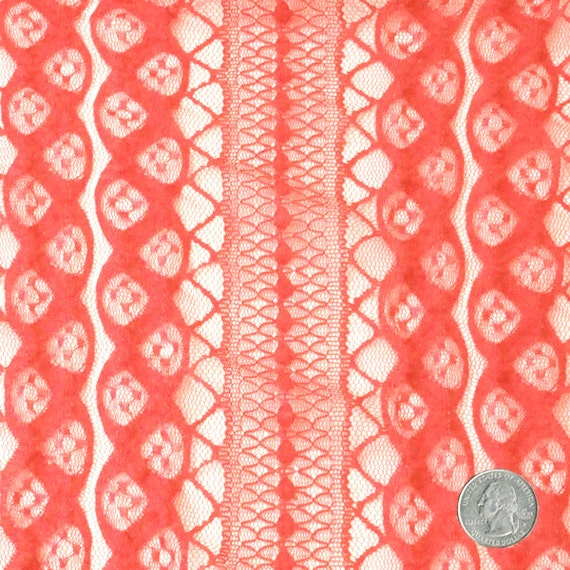 Coral chic color corset pattern stretchy lace fabric by the - Chemin de table chic ...