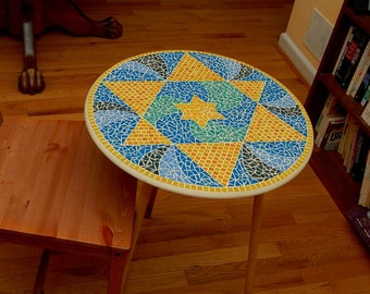 Blue, Teal, Yellow Star of David Glass Mosaic Table Top