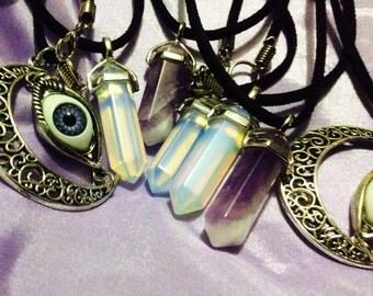 Amethyst opal cord necklace