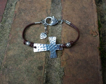 Silver-Hammered Cross Leather Bracelet