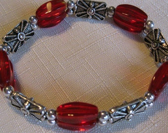 Ruby Red and Silver Beauty Bracelet