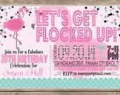 Fun, Preppy Flamingo Birthday Invitation