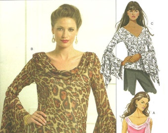 Misses Butterick 5138 Blouse Pattern - Flounce Long Sleeve - Sleeveless - Tank Top - Scarf - Neckline Variations - Size 8, 10, 12, 14 - Easy