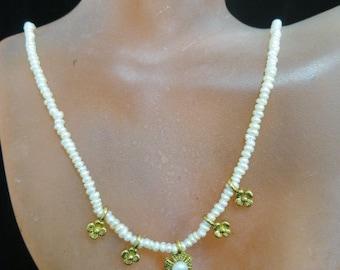 Vintage Freshwater Pearl Floral Necklace