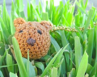 Little bear crochet necklace. Handmade packaging