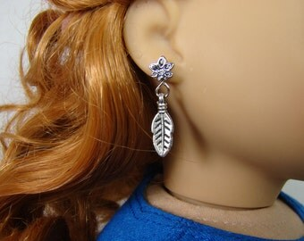"Silver Feather Earring Dangles for 18"" Play Dolls such as American Girl®"