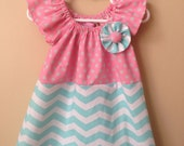Baby girl Aqua Chevron and Pink/Gray Polkadot Ruffle Sleeve Dress with Flower- 0 to 3 months - 6M - 12M - 18M - 2T - 3T - 4T