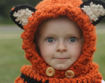 Fox hood - fox cowl - fox scarf - fox - fox hat - kids fox hat - kids scarf - child scarf - crochet