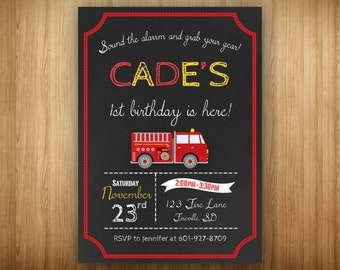 PRINTABLE Firetruck Birthday Party Invitation DIY Chalkboard Fireman Firefighter Fire Truck Engine Fire Man Fire Fighter Red Yellow Black