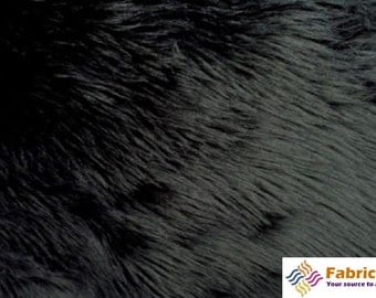 Black Pile Luxury Shag Faux Fur Fabric by the yard for costumes, coats, vests, home and studio use 4460
